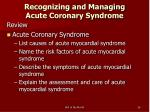 recognizing and managing acute coronary syndrome26