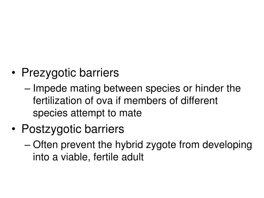 Prezygotic barriers
