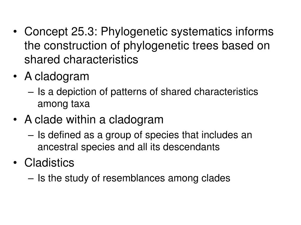 Concept 25.3: Phylogenetic systematics informs the construction of phylogenetic trees based on shared characteristics