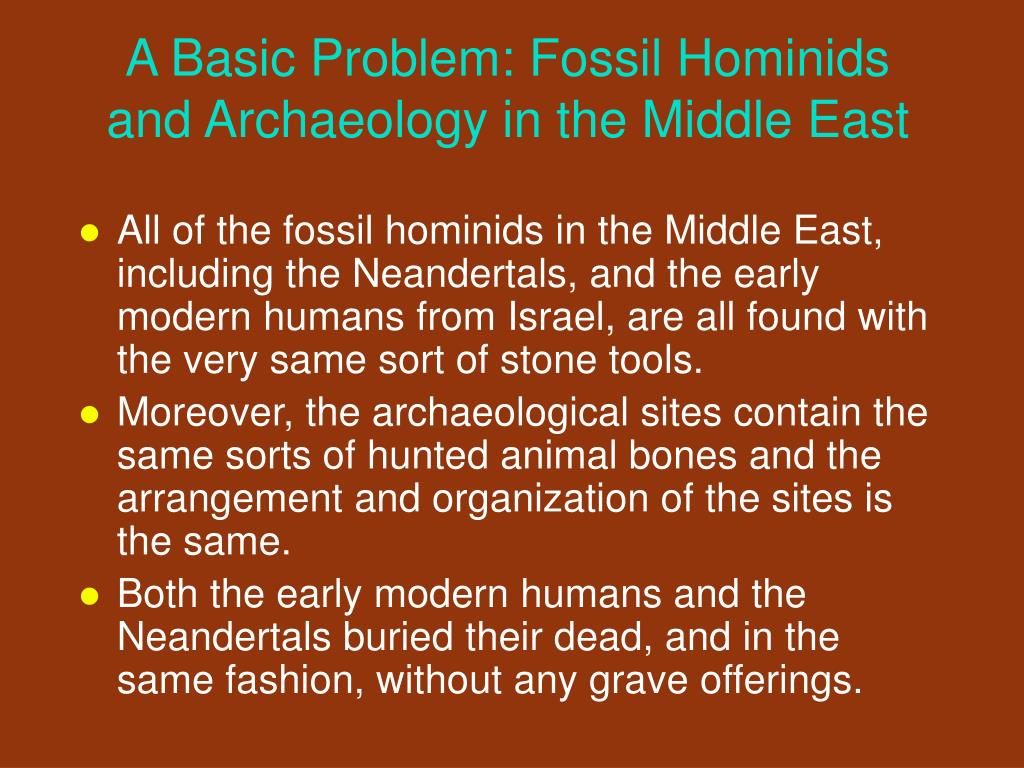 A Basic Problem: Fossil Hominids and Archaeology in the Middle East