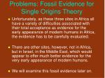 problems fossil evidence for single origins theory