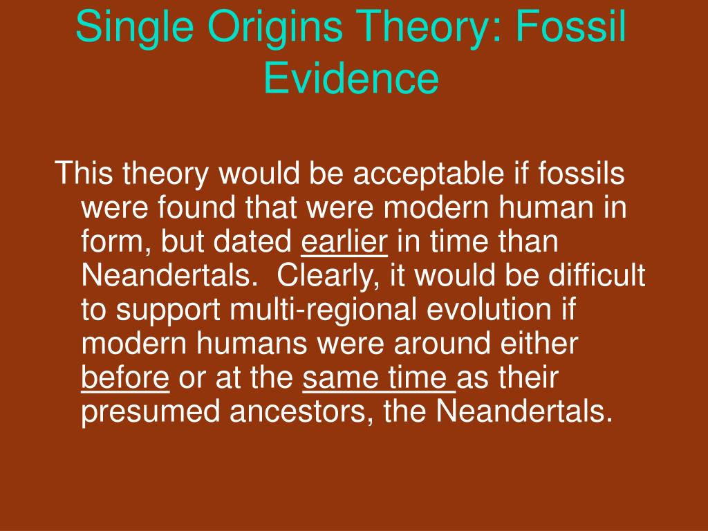 Single Origins Theory: Fossil Evidence