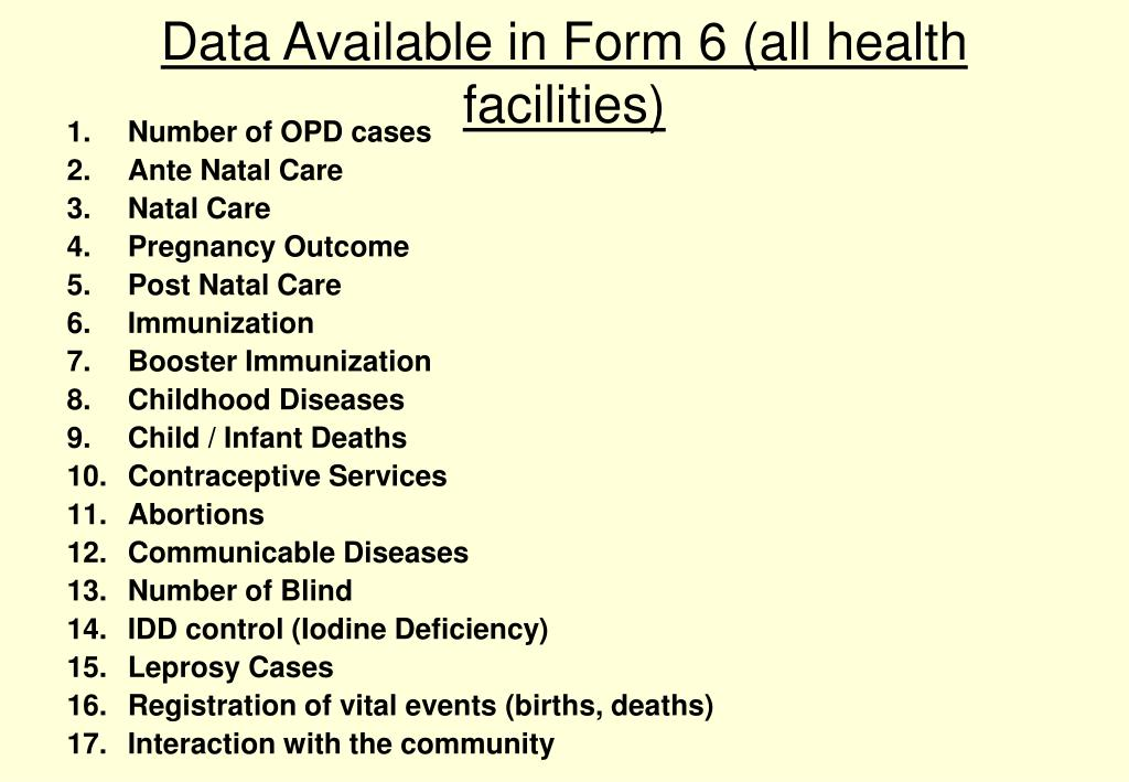 Data Available in Form 6 (all health facilities)