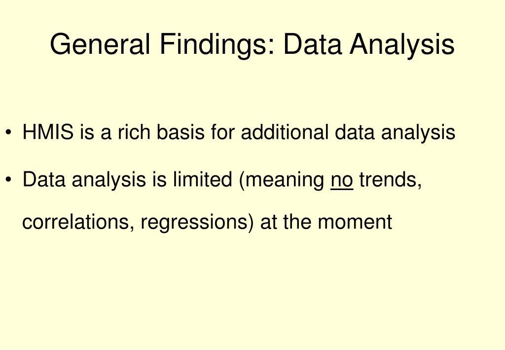 General Findings: Data Analysis