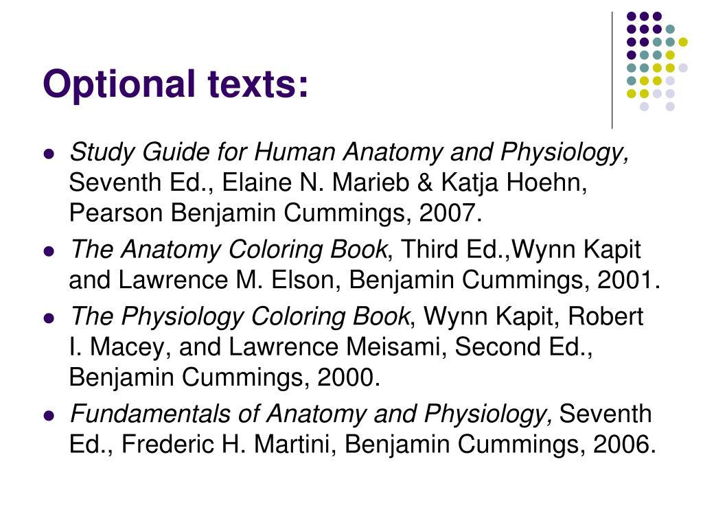 Optional texts: