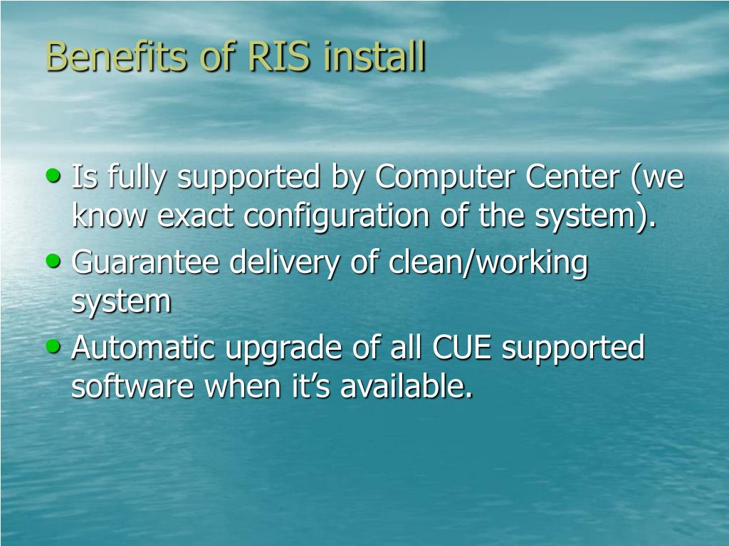Benefits of RIS install