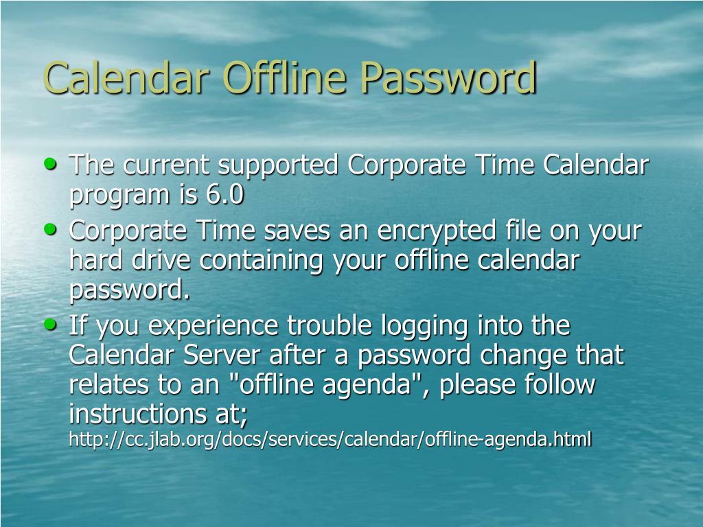 Calendar Offline Password