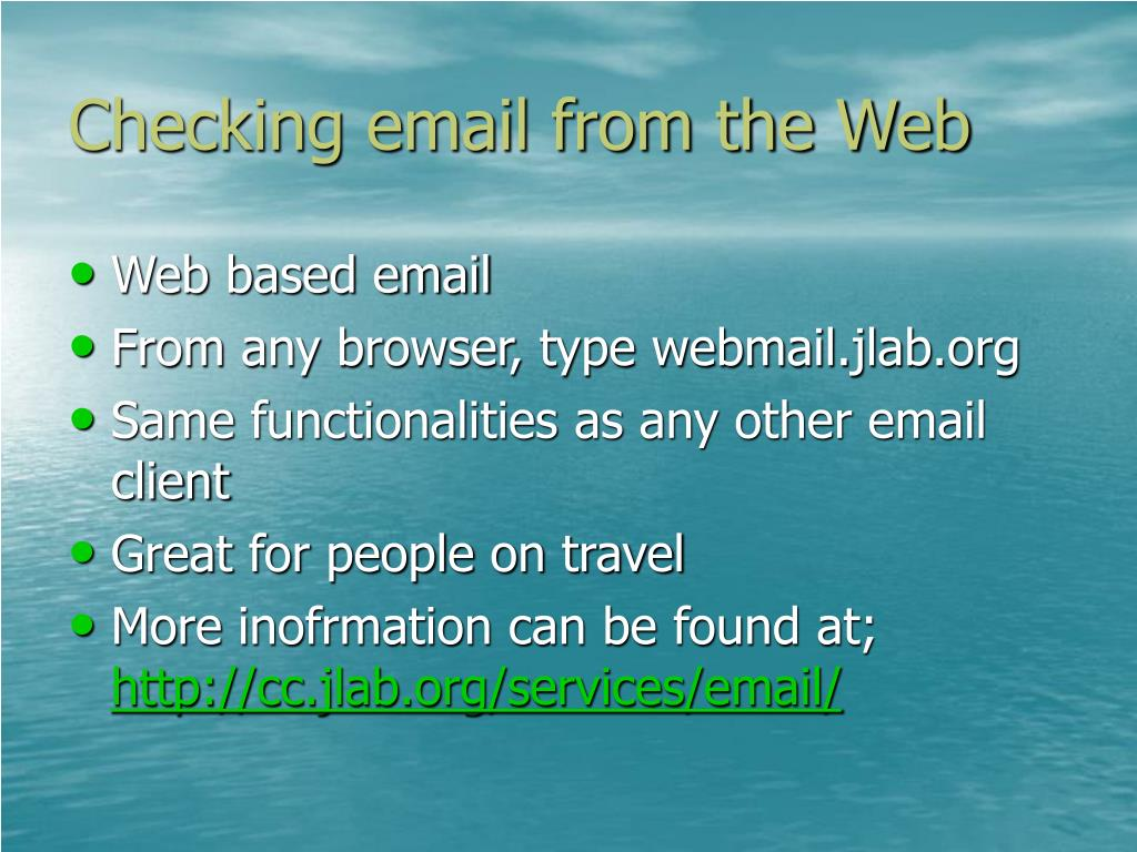 Checking email from the Web