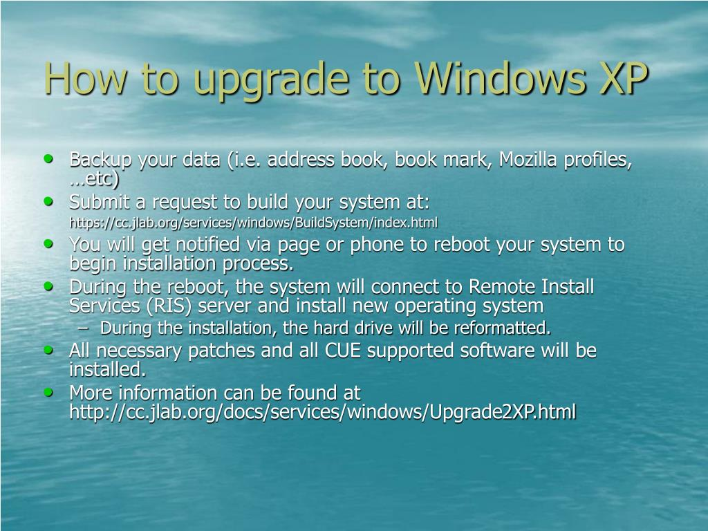 How to upgrade to Windows XP