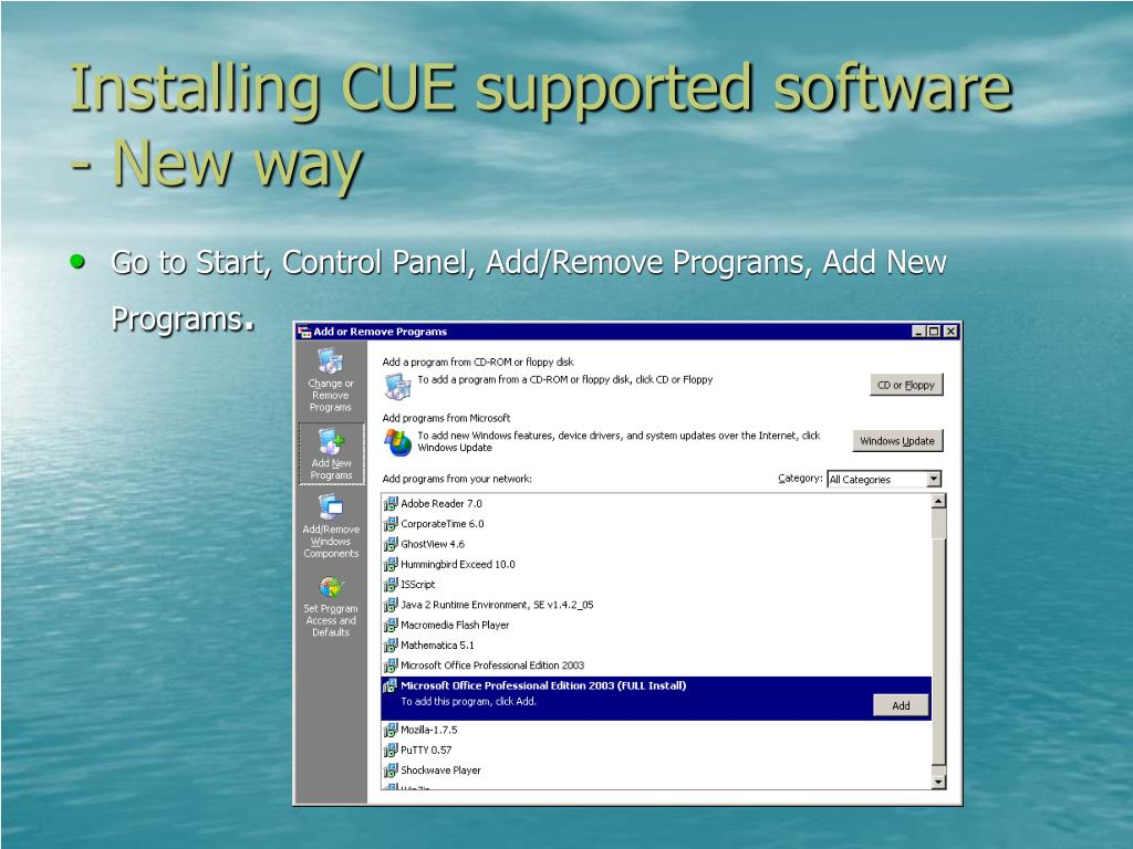 Installing CUE supported software