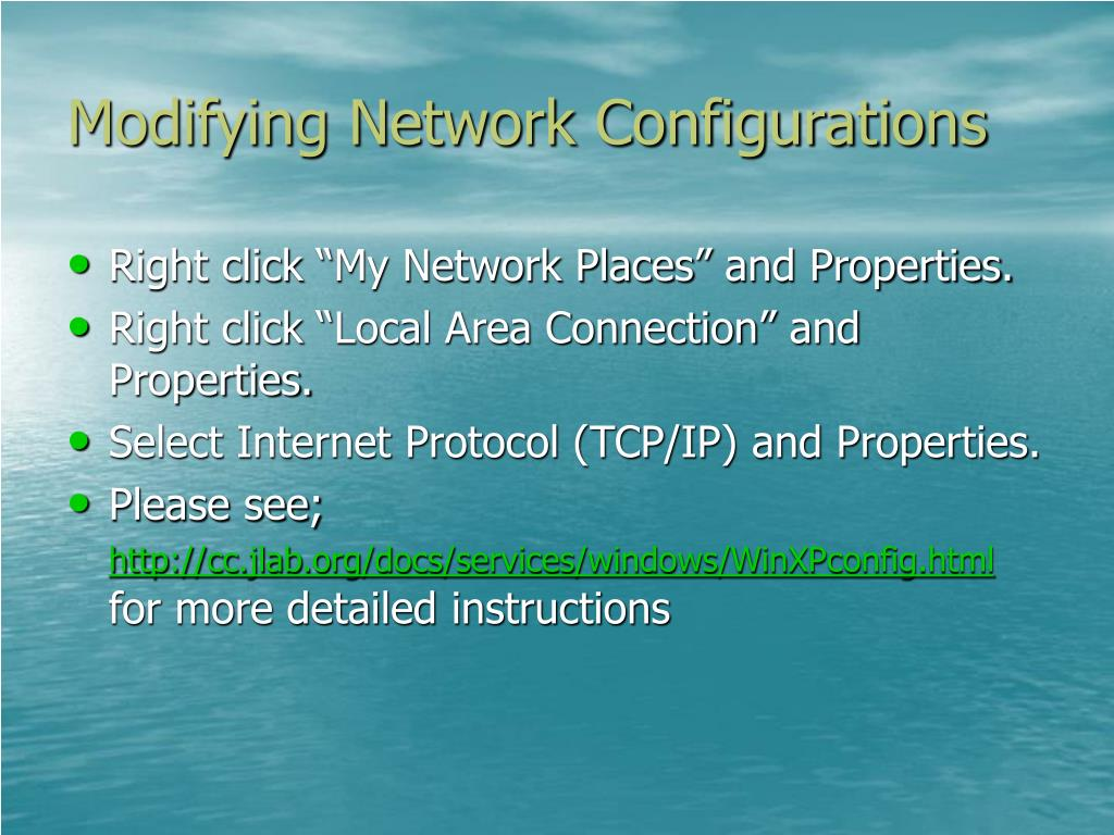 Modifying Network Configurations