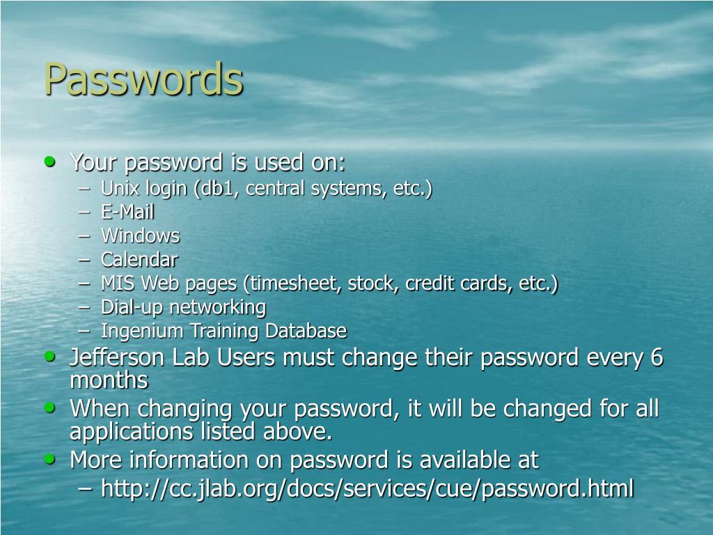 Passwords