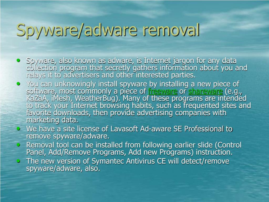 Spyware/adware removal