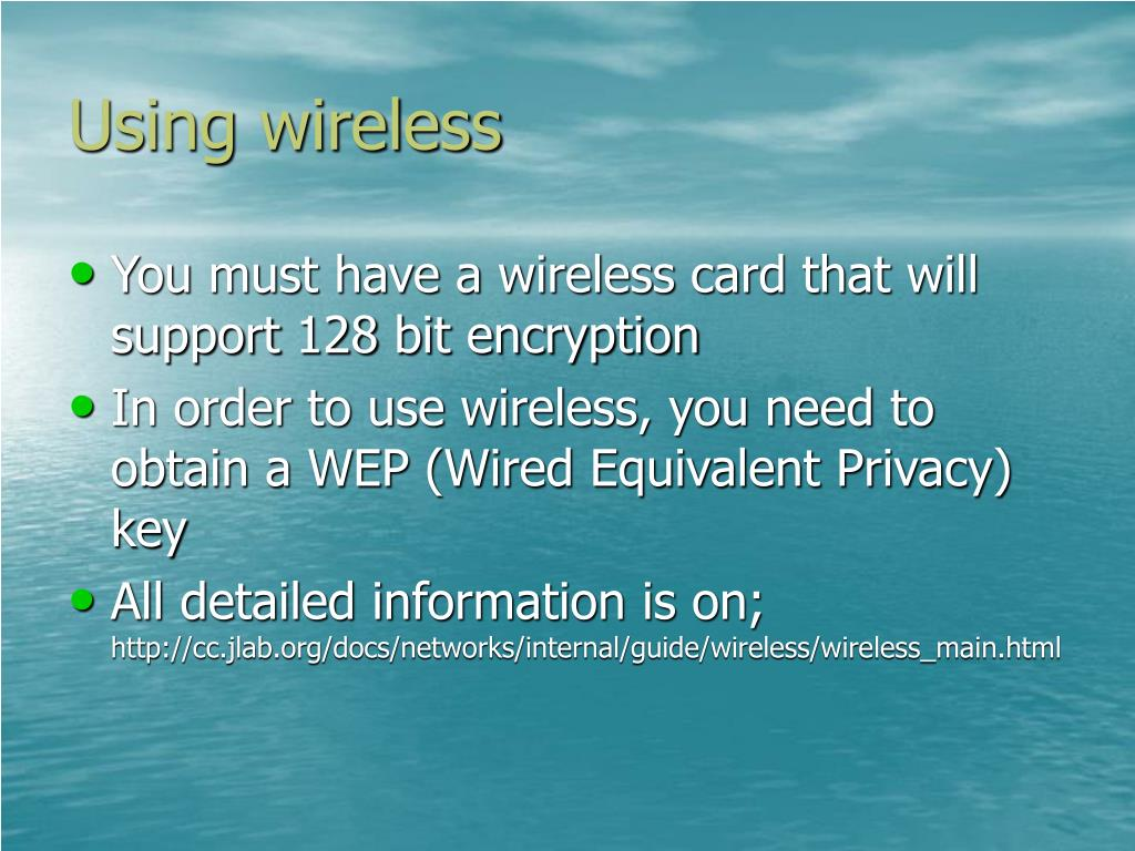 Using wireless