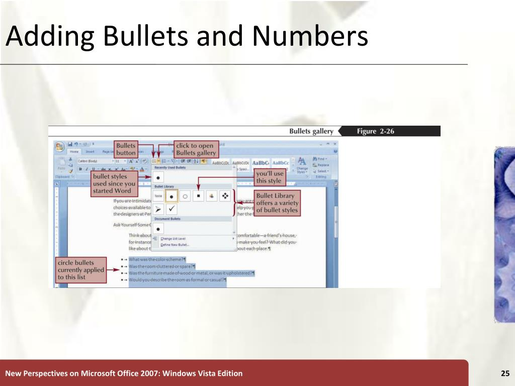 Adding Bullets and Numbers