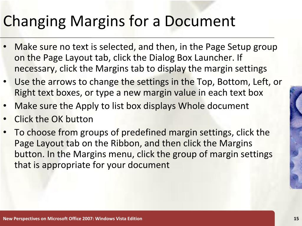 Changing Margins for a Document