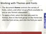 working with themes and fonts
