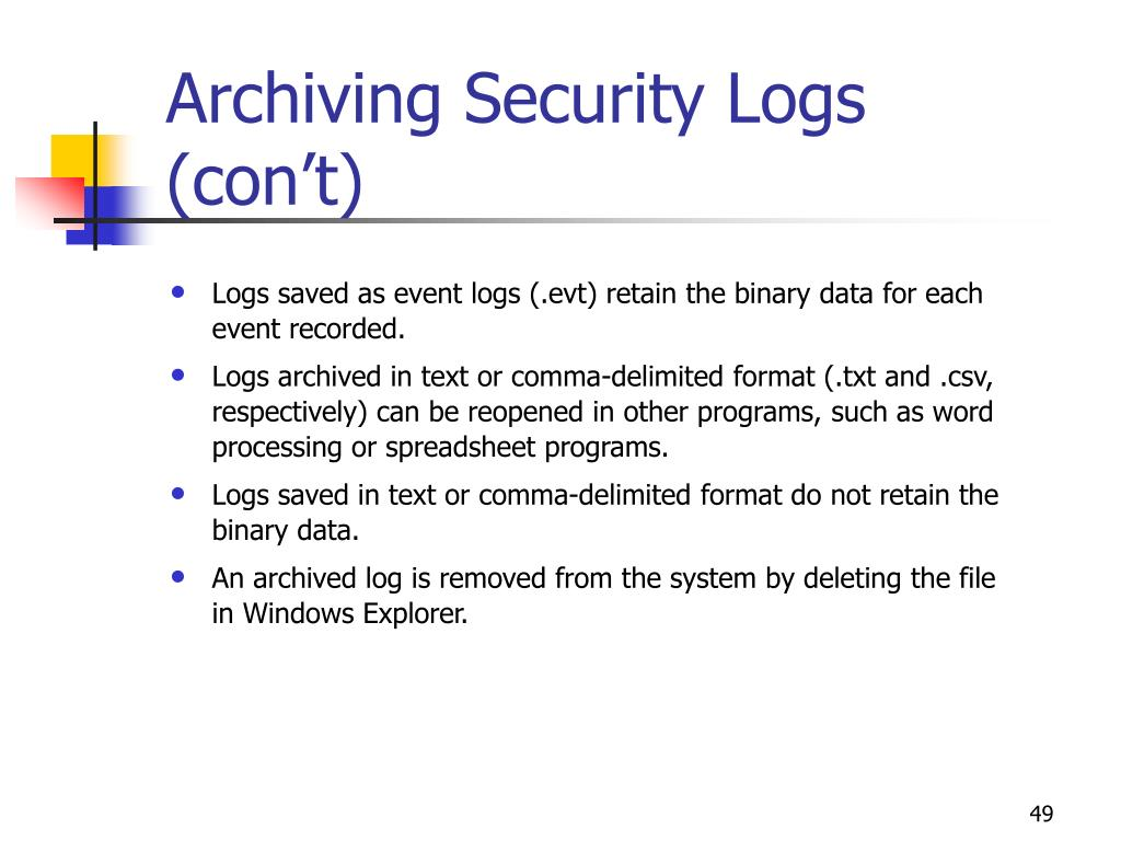 Archiving Security Logs (con't)