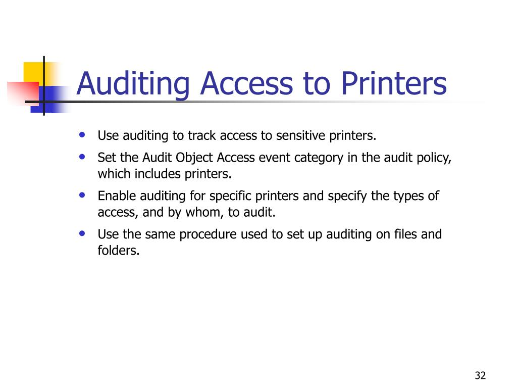 Auditing Access to Printers