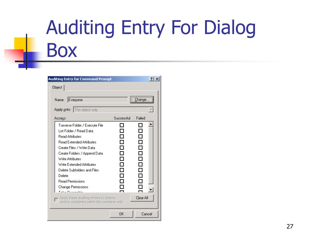 Auditing Entry For Dialog Box