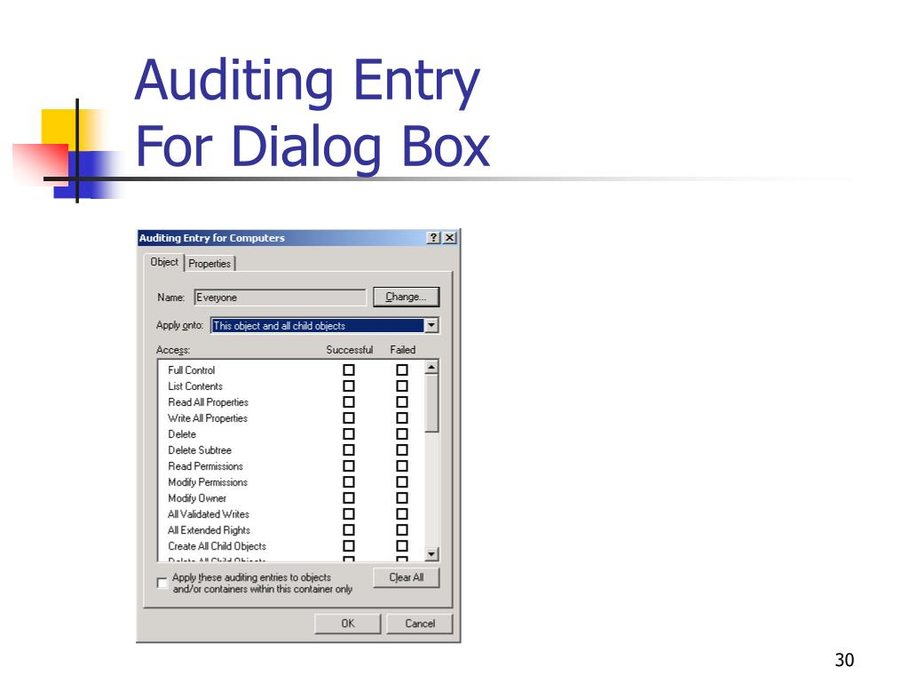 Auditing Entry
