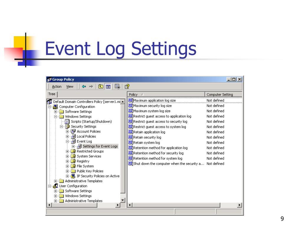 Event Log Settings
