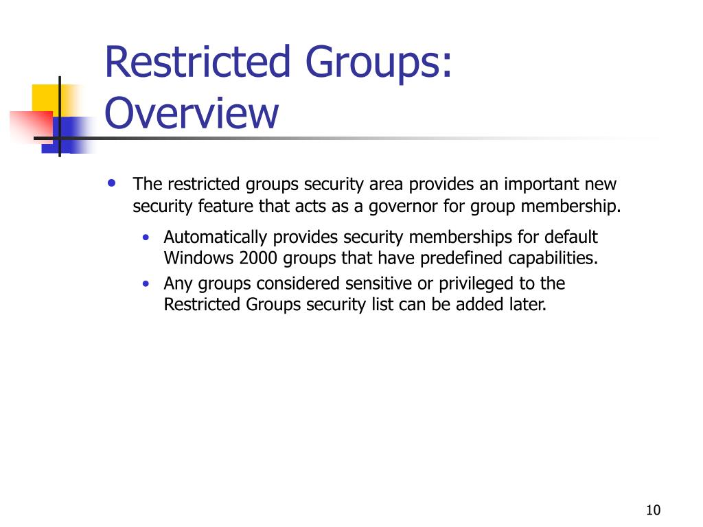 Restricted Groups: Overview