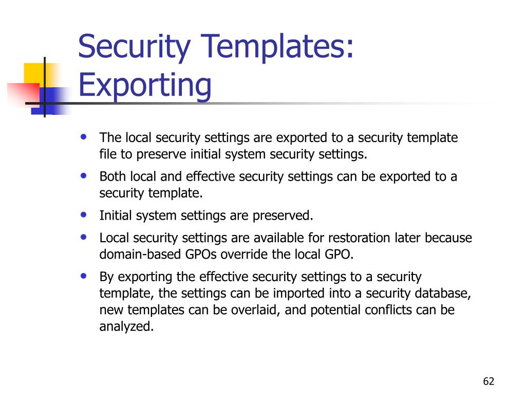 Security Templates: Exporting