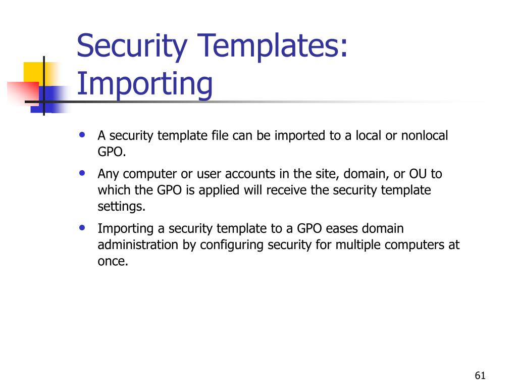 Security Templates: Importing