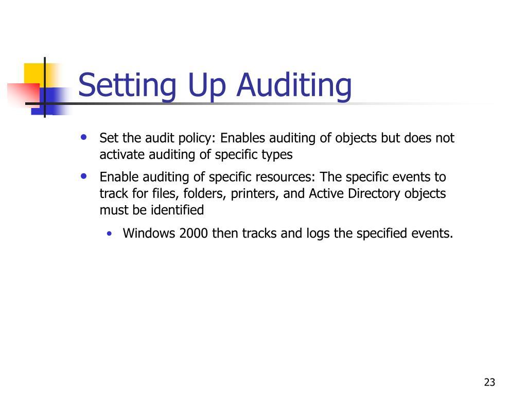 Setting Up Auditing