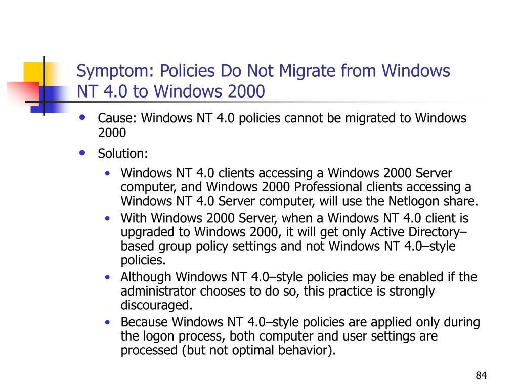 Symptom: Policies Do Not Migrate from Windows NT 4.0 to Windows 2000
