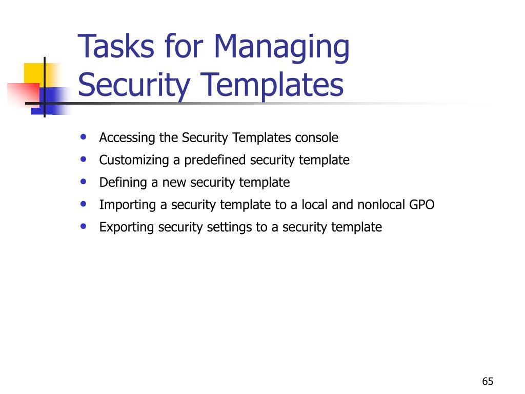 Tasks for Managing