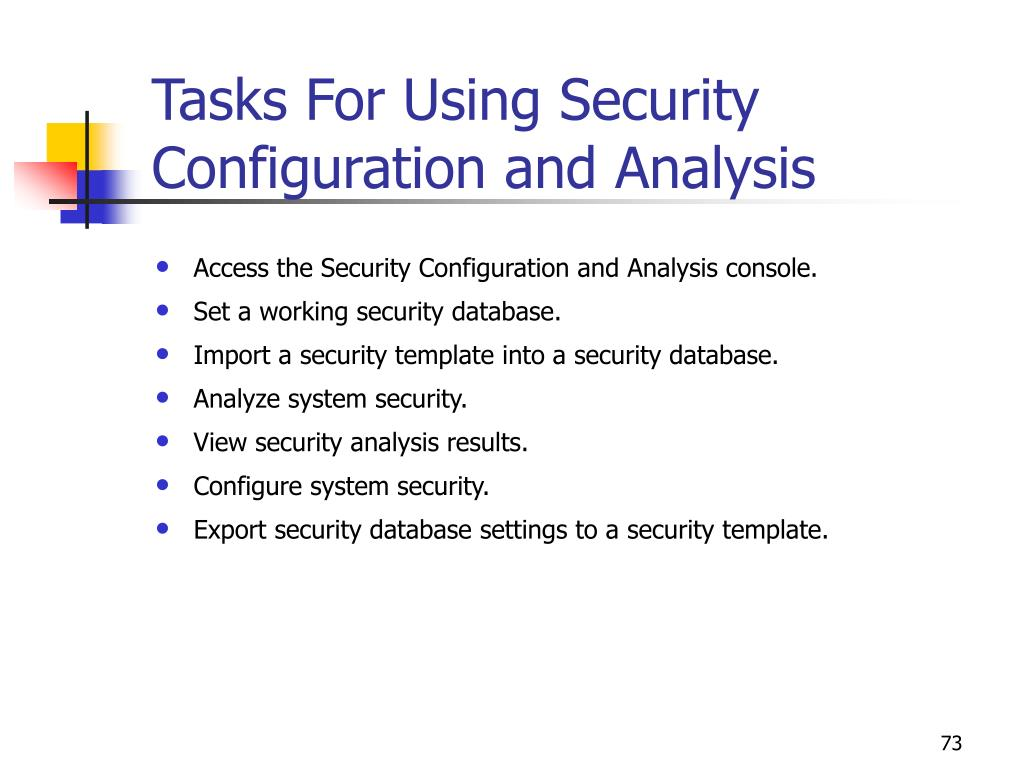 Tasks For Using Security Configuration and Analysis