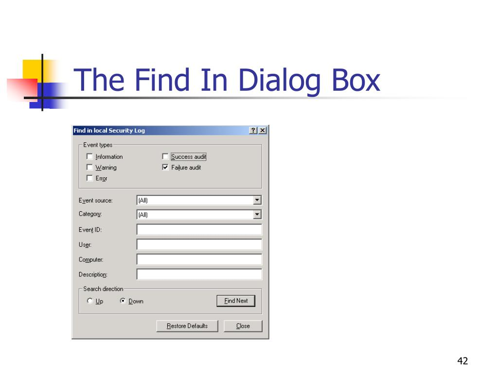 The Find In Dialog Box