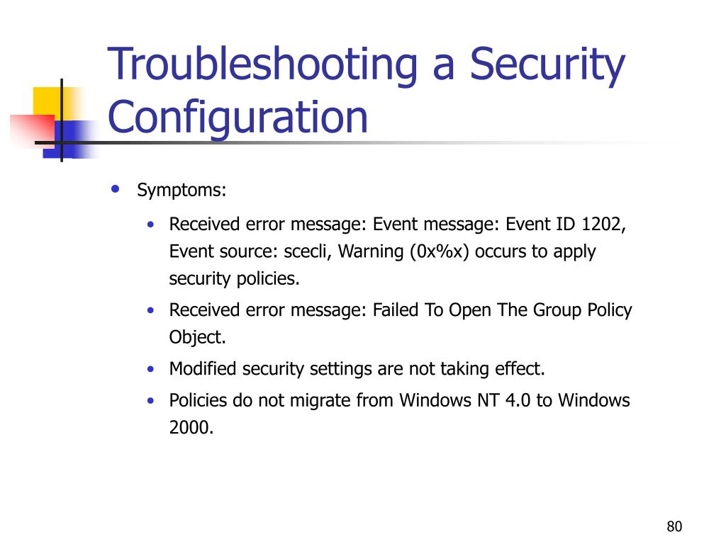 Troubleshooting a Security Configuration