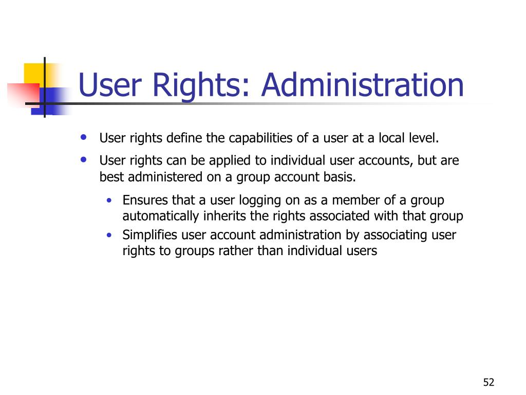 User Rights: Administration