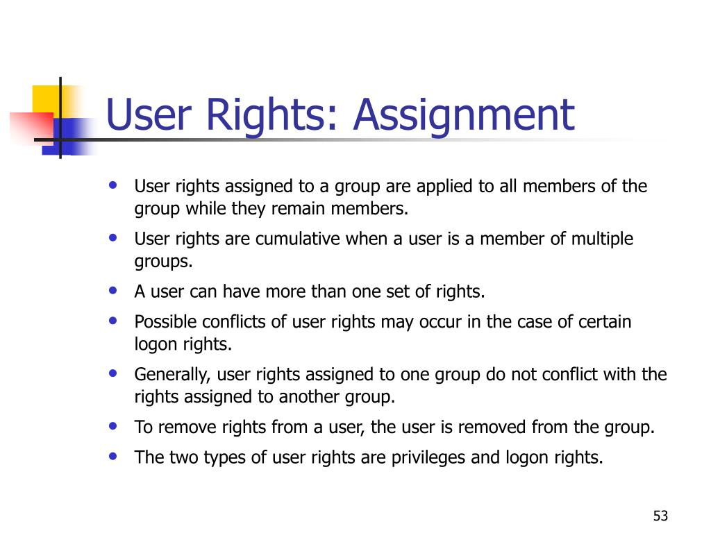 User Rights: Assignment