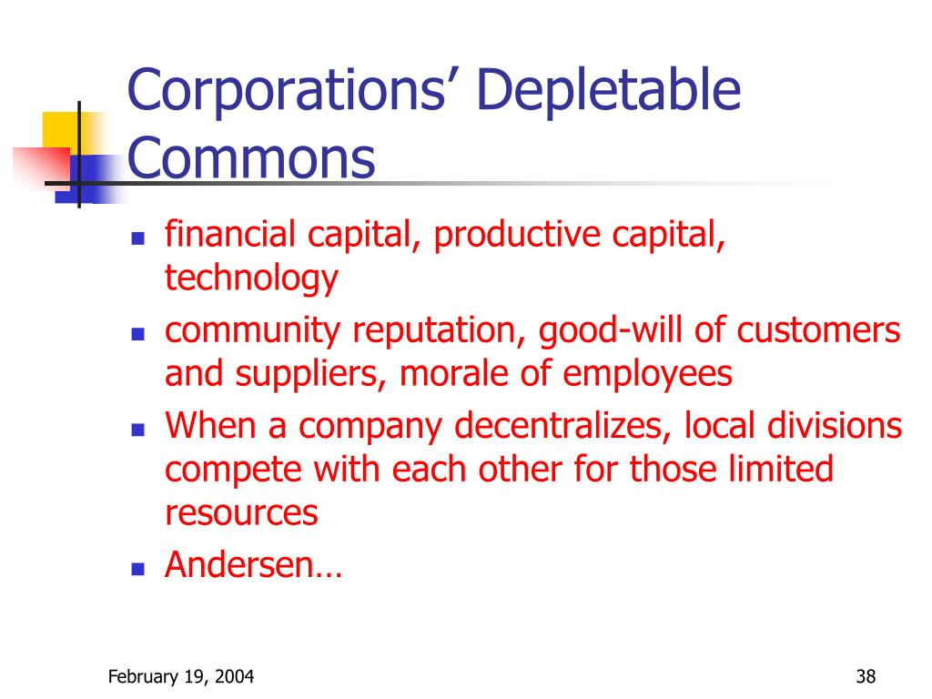 Corporations' Depletable Commons
