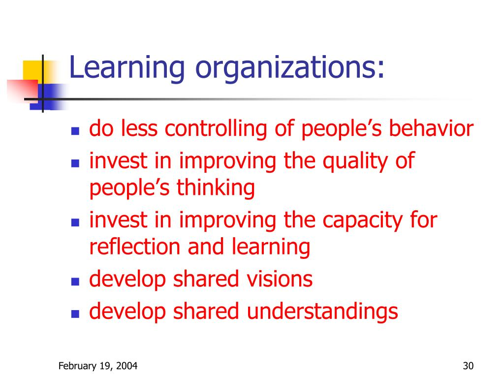 Learning organizations: