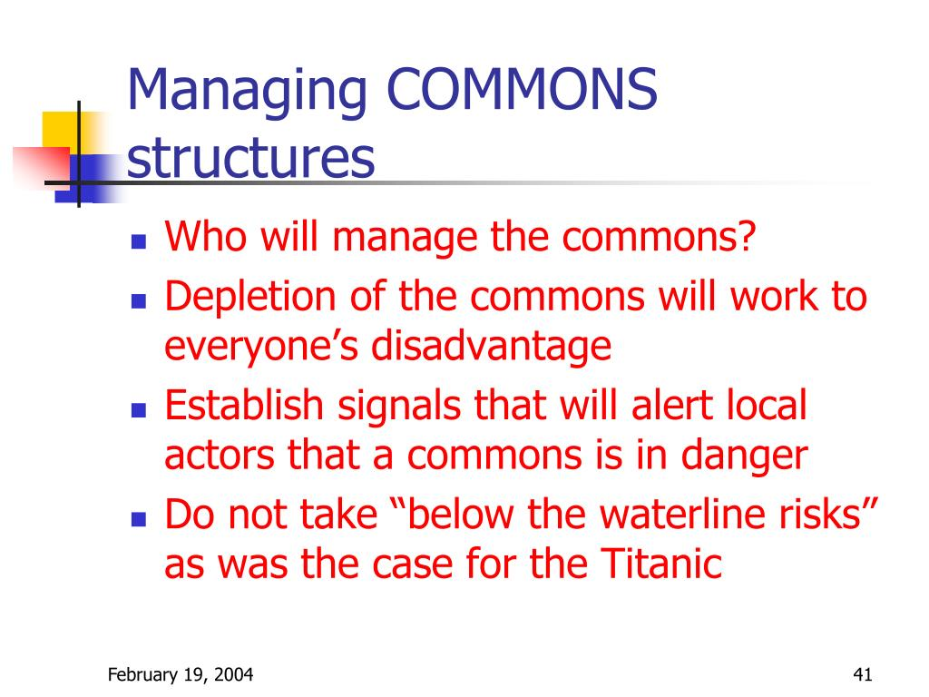 Managing COMMONS structures