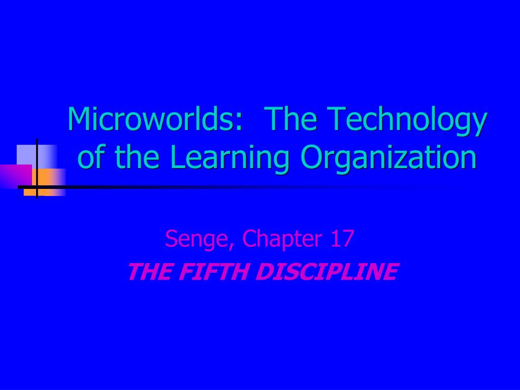 Microworlds:  The Technology of the Learning Organization