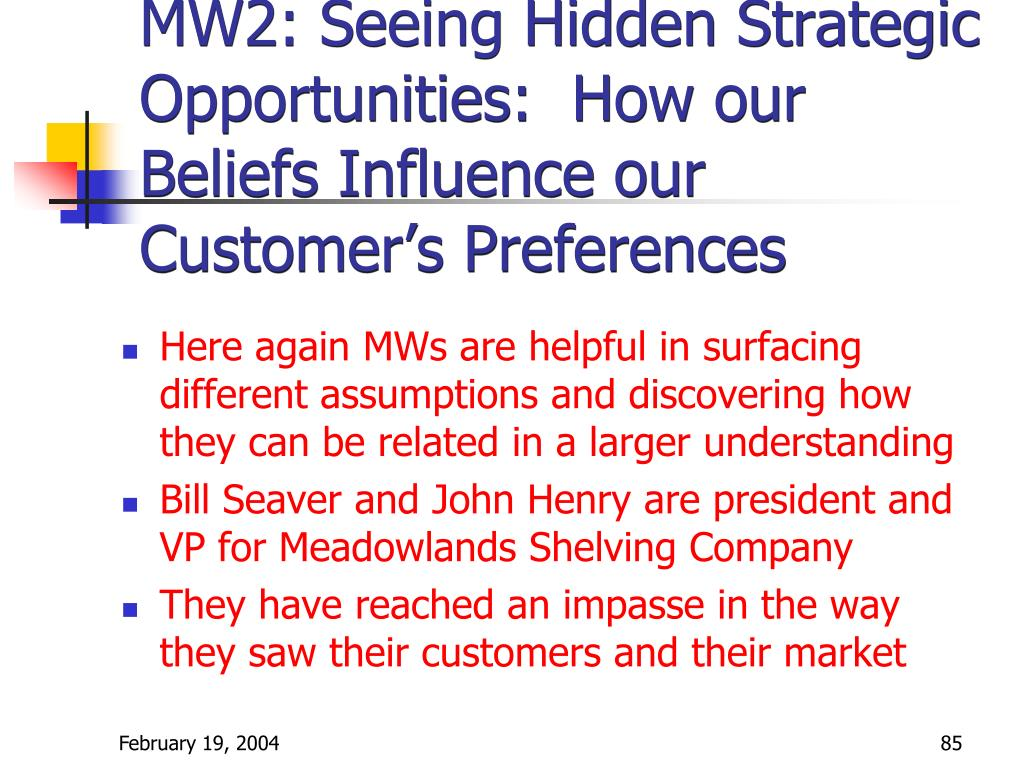MW2: Seeing Hidden Strategic Opportunities:  How our Beliefs Influence our Customer's Preferences