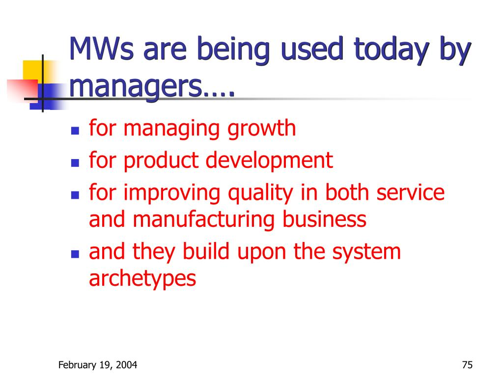 MWs are being used today by managers….