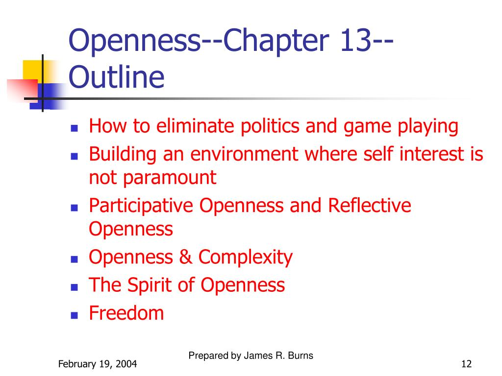 Openness--Chapter 13--Outline