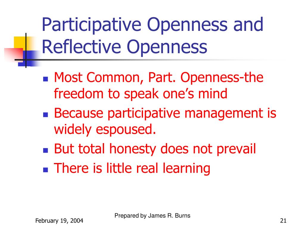 Participative Openness and Reflective Openness