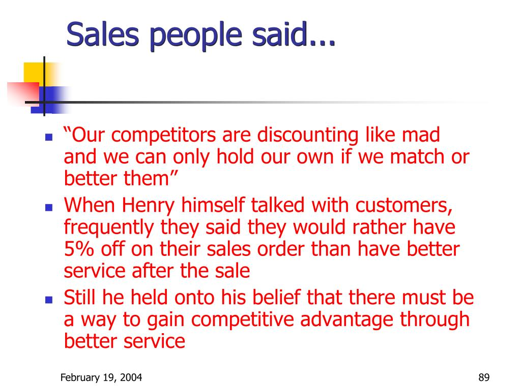 Sales people said...