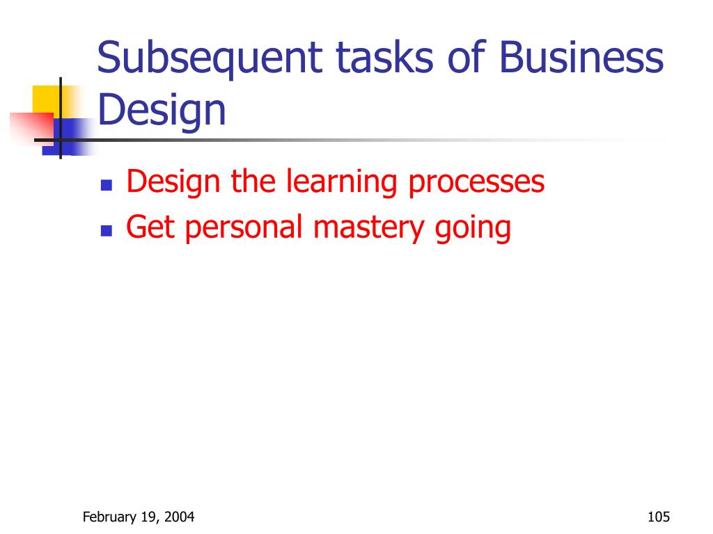 Subsequent tasks of Business Design