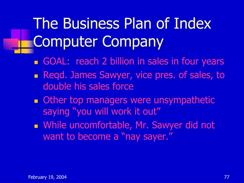 The Business Plan of Index Computer Company