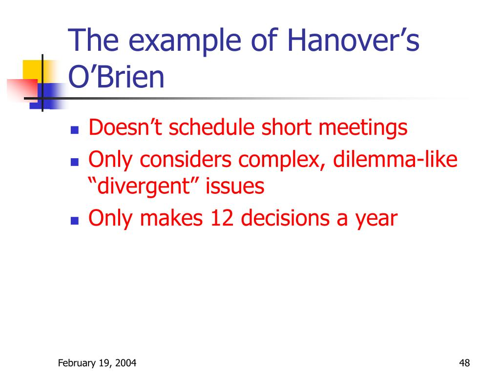 The example of Hanover's O'Brien