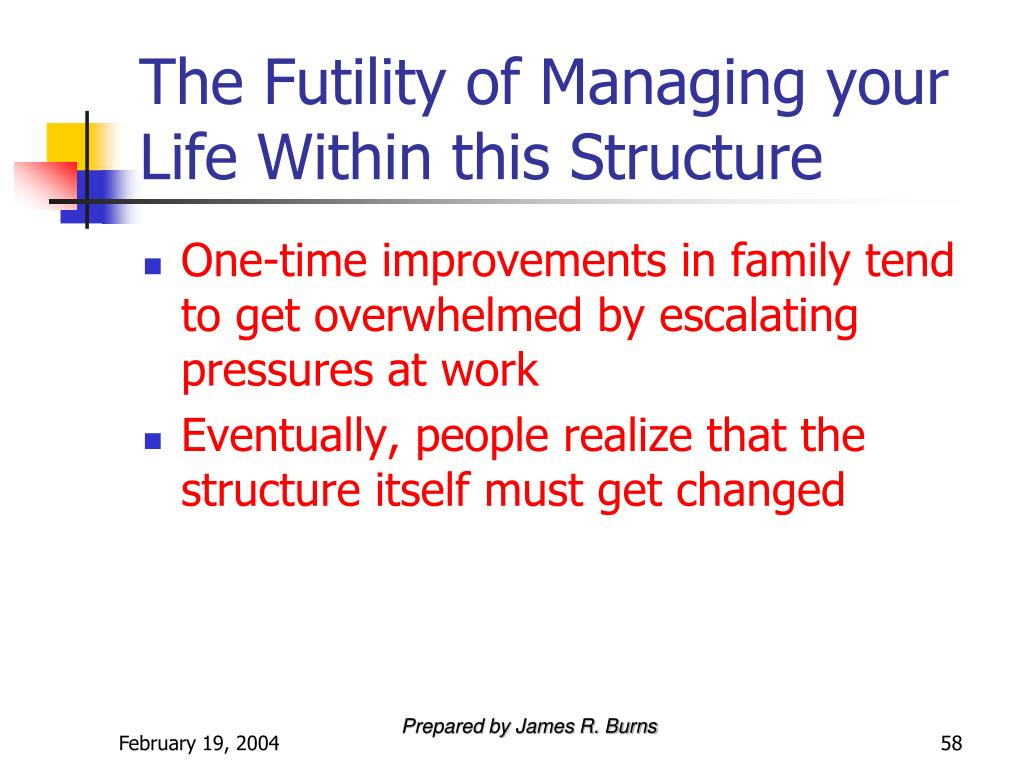 The Futility of Managing your Life Within this Structure